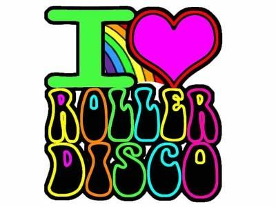 I Love ROLLER DISCO Iron on T Shirt Transfer Multi Coloured