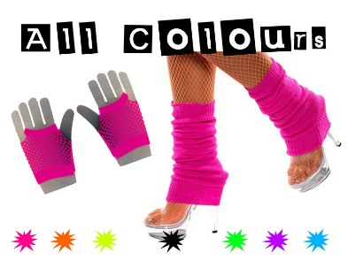 80s Neon Leg Warmers & Short Mesh Gloves Deal