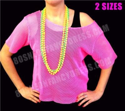 80s Neon Pink Mesh Vest Top S-XXL