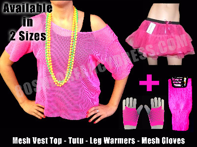 Mesh Net Vest Top, Tutu, Leg Warmers & Gloves Fancy Dress Deal