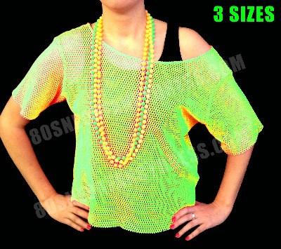 80s Neon Green Mesh Vest Top S-XXL