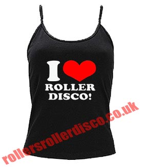 I Love Roller Disco Womens Spaghetti Skinny Fit Vest Top 8-16
