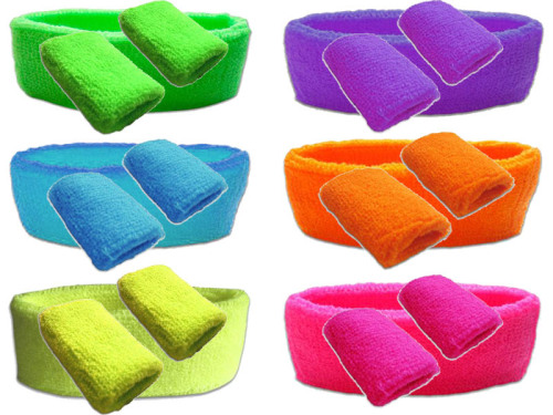 80s Neon Towelling Sweatbands & Headband Set