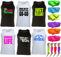 80s Party Deal - Mens Unisex Slogan Vest & Neon Accessories