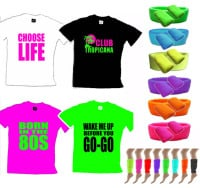 80s Party Deal - Slogan T Shirt & Neon Accessories