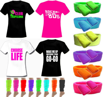 80s Party Deal - Womens Slogan T Shirt  & Neon Accessories