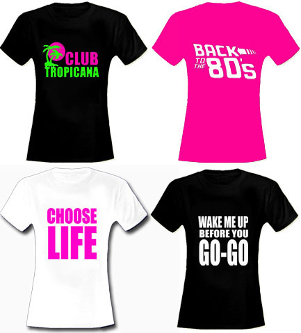 Any 80s Slogan ! Womens Fitted T Shirt - Any Colour - Any Size