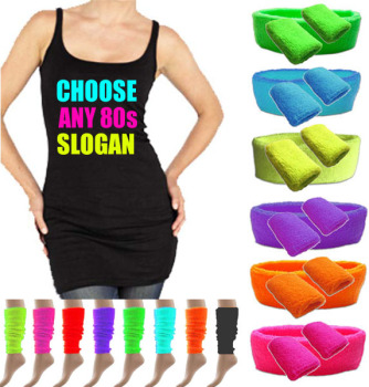 Any 80s Slogan Womens Long Vest Top & Neon Accessories 8-18