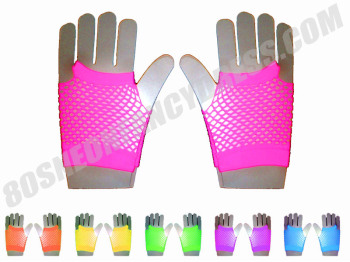 80s Short Mesh Gloves in Various Neon Colours