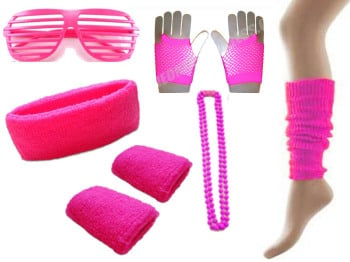 80s Neon Party Accessories Pack in Various Colours