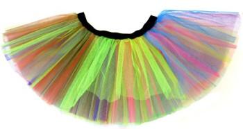 80s Fancy Dress Tutu - Neon Rainbow Colours Size L/XL 12-18