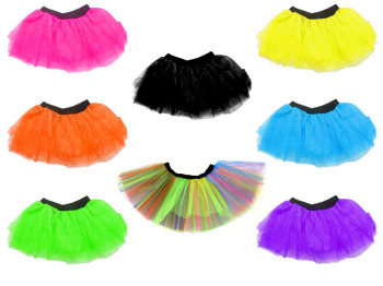 80s Fancy Dress Tutu Various Neon Colours Childs Size