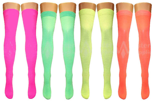 80's Neon Over The Knee Socks