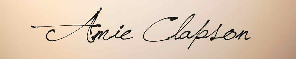www.amieclapson.com, site logo.