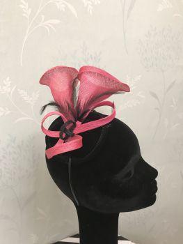 Bespoke black and rose pink fascinator
