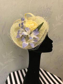 Bespoke disc, net and flower fascinator