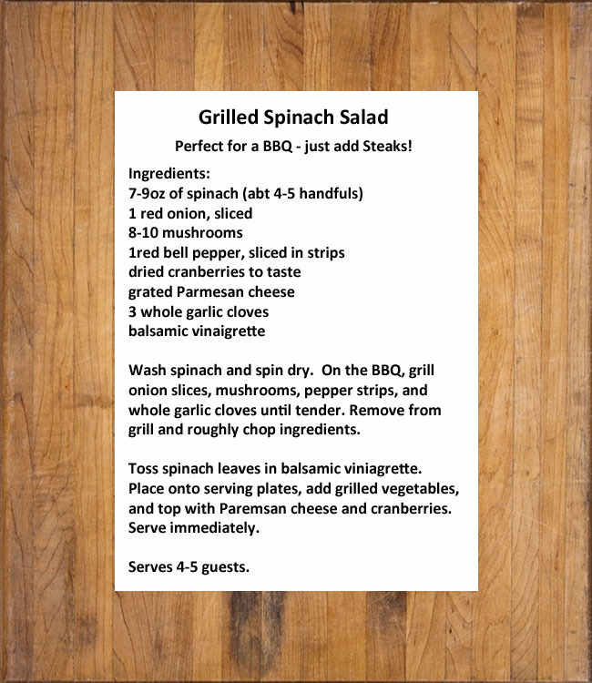grilled spinach salad text