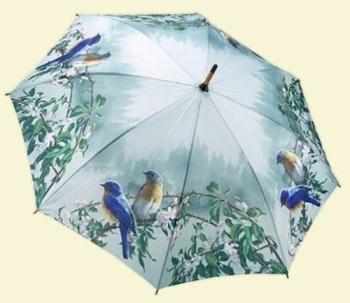 Blue Birds Stick Umbrella