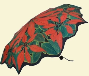 Poinsettia Folding Umbrella
