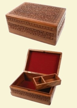 Handcarved Box with Insert Tray
