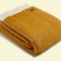 Tweedmill Fishbone Wool Blanket - Mustard