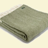 Tweedmill Fishbone Wool Blanket - Olive