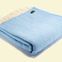 Tweedmill Fishbone Wool Blanket - Sea Blue
