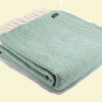 Tweedmill Fishbone Wool Blanket - Sea Green