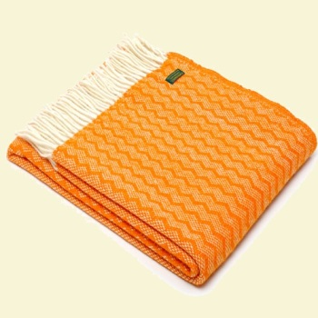 Tweedmill Zigzag Pure New Wool Blanket - Orange