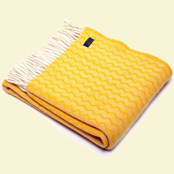Tweedmill Zigzag Pure New Wool Blanket - Yellow