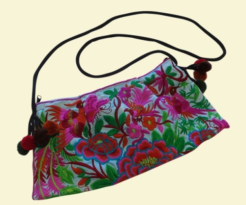 Embroidered Bag - Turquoise Flora and Fauna