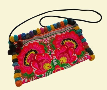 Embroidered Bag with Pom Poms - White Garden