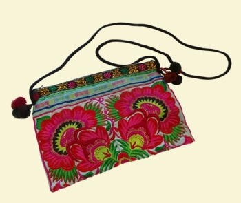 Embroidered Bag - Turquoise Garden