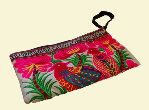 Embroidered Clutch Bag - Exotic Birds