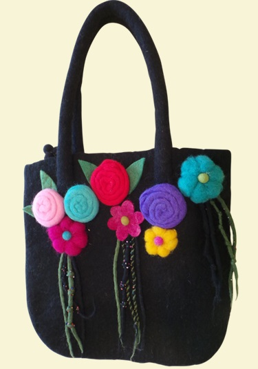 Black Flower Felt Bag