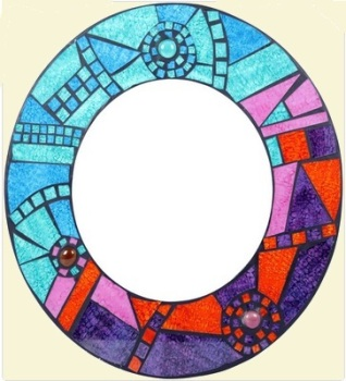 Mosaic Blue Round Mirror - Medium
