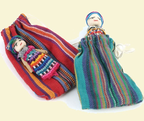Worry Doll in Woven Bag