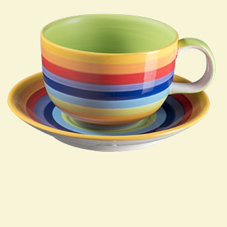 Rainbow Stripe Cup and Saucer