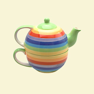 Rainbow Stripe Cup and Teapot for One