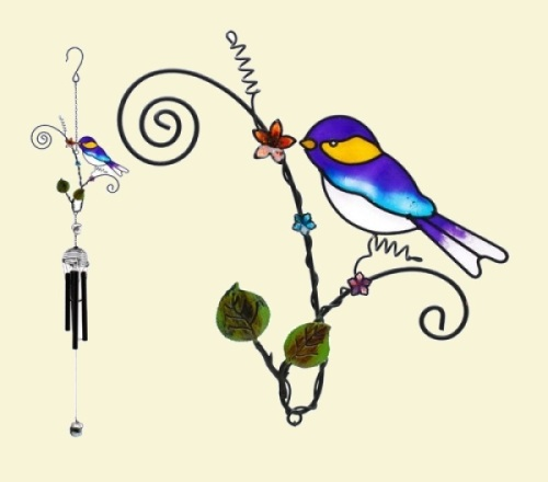 Bird on Curled Branch Windchimes