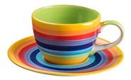 Rainbow Stripe Coffee cup and saucer