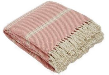 Oxford Strip Coral Blanket from Weaver Green