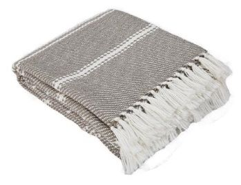 Oxford Stripe Monsoon Blanket from Weaver Green