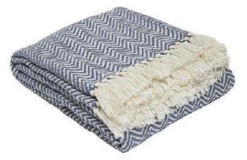 Herringbone Navy Blanket