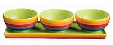 Rainbow Stripe set 3 Tapas Bowls