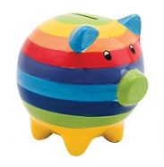 Rainbow Stripe Piggy Bank