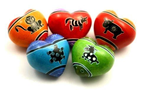 Funky Animal Soapstone Heart