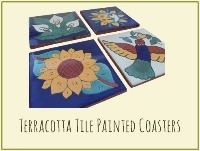 Terracotta Tile Handpainted Coasters