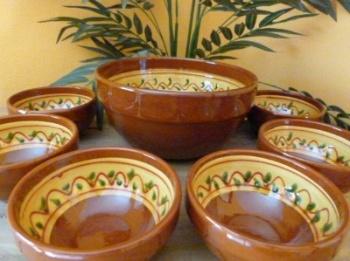 Set of 6+1 Decorated Bowls - Design 1