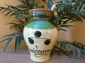 Decorated Olive Crock Pot Jar - Jerez